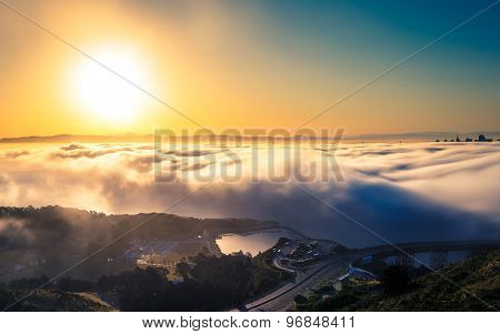 Aerial View Of San Francisco Above The Fog