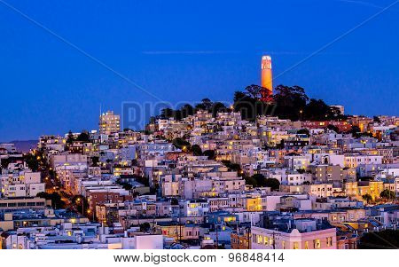 Coit Tower And Houses On The Hill San Francisco At Night