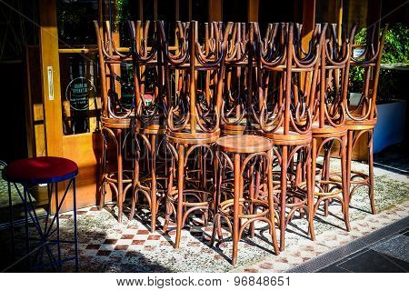 Bar Stools Stacked Together