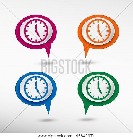 Watches on colorful chat speech bubbles