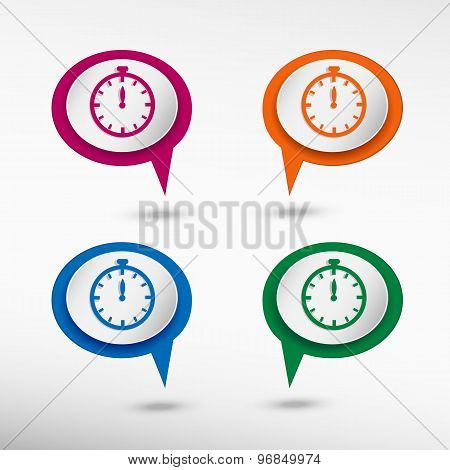 Stopwatch on colorful chat speech bubbles