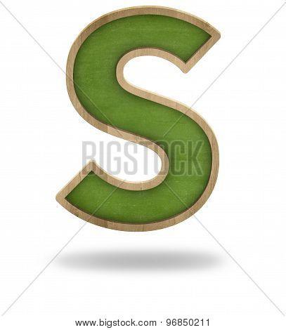 Green blank letter S shape blackboard