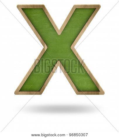 Green blank letter X shape blackboard
