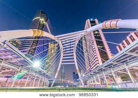 Bangkok City - Public Skywalk In Business Area