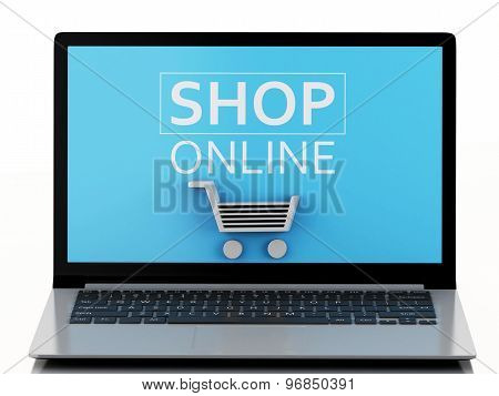 3D Shopping Cart On Laptop. E-commerce  Concept