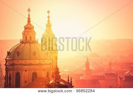 Prague Saint Nicholas Church On Misty Morning