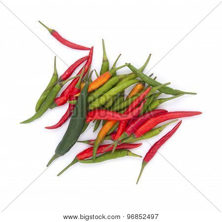 Red And Green Chili Peppers On A White Background..