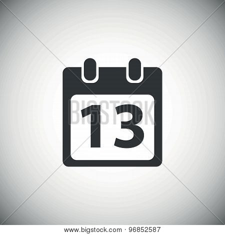Black day 13 calendar icon