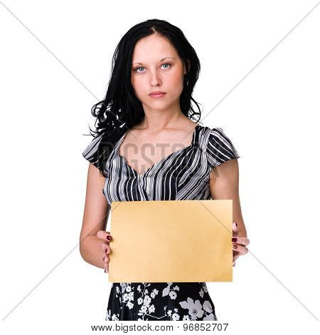 Smiling young business woman showing blank signboard over white