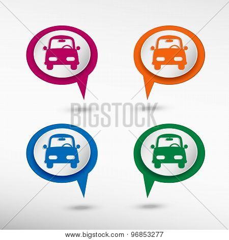 Car on colorful chat speech bubbles