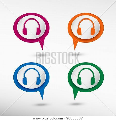 Headphones on colorful chat speech bubbles
