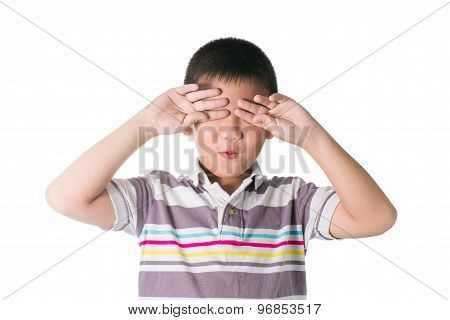 Sleepy Asian Kid, Put Hand On His Eyes, Isolated On White Background