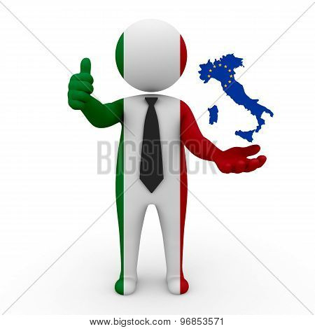 3d businessman people Italy - with a map of the flag of EC-Italy