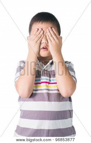 Asian Kid Hide Face Under Hands, Playing Hide-and-seek, Isolated On White Background