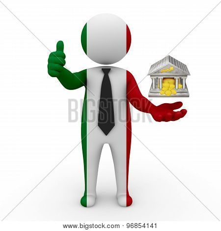 3d businessman people Italy - with the bank in his hands and FINAS and rating