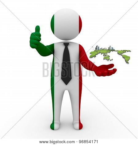 3d businessman people Italy - Italian business with a map of the world
