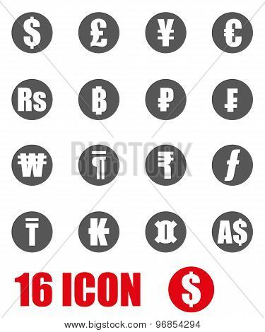 Vector Grey Currency Symbols Icon Set