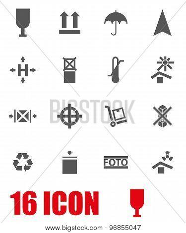 Vector Grey Marking Of Cargo Icon Set