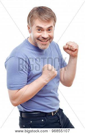 Upbeat man expressing positivity