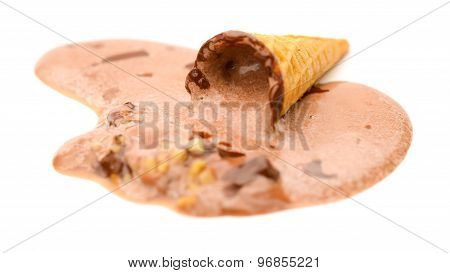 Ice Cream Cone Melting Completely On A White Background