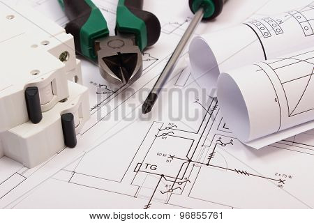 Work Tools, Electric Fuse And Rolls Of Diagrams On Construction Drawing Of House