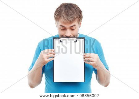 Pleasant man holding folder.