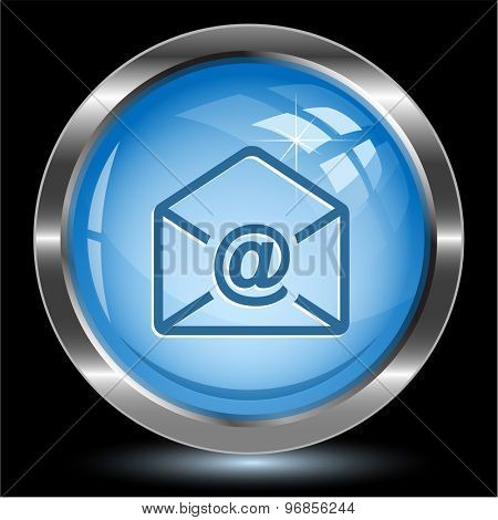 mail at-sign. Internet button. Vector illustration.