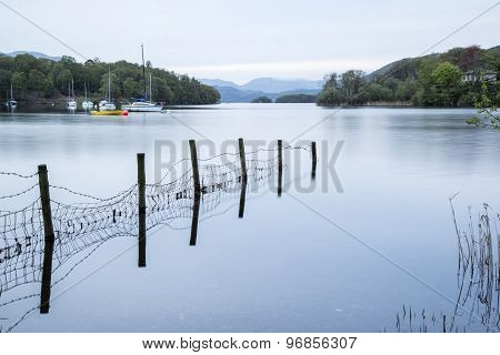 Calm Moody Evening Landscape Over Coniston Water In English Lake District