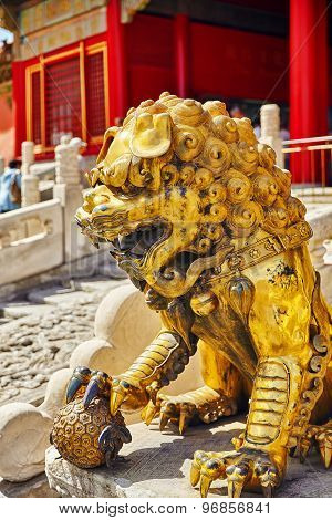 Statue Of Lions  Inside The Territory Of The Forbidden City Museum In Beijing,in The Heart Of City.