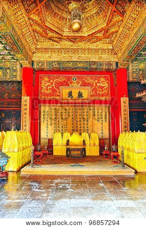 Interior Imperial Palaces And Pavilions Of The Forbidden City In The Heart Of Beijing.