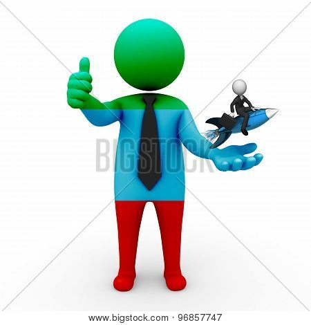 3d businessman people Dagestan  - with a missile in the hands and grow your business