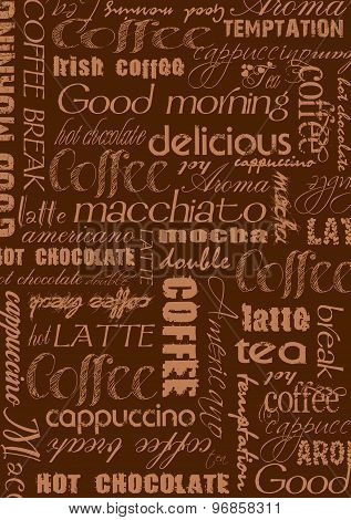 Coffee background in brown with text elements
