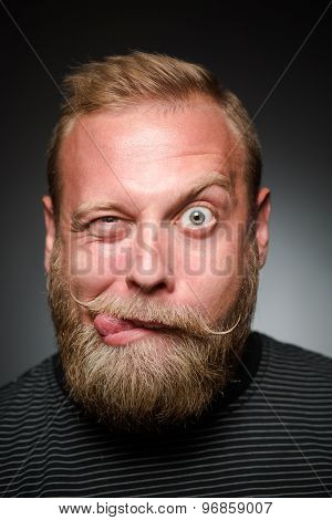 Fooling bearded man