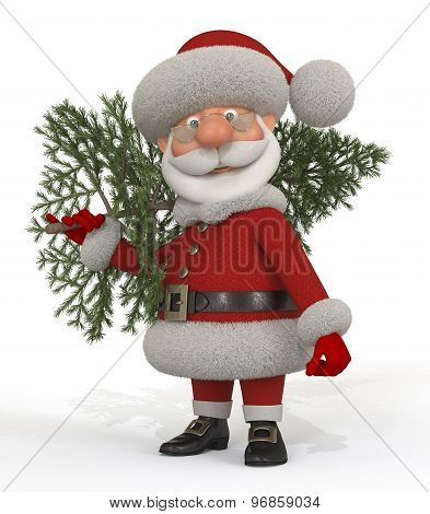 3D Santa Claus With A Fir-tree