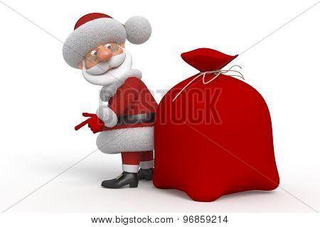 3D Santa Claus With A Bag