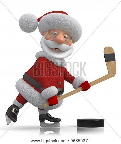 Santa Claus Hockey Player