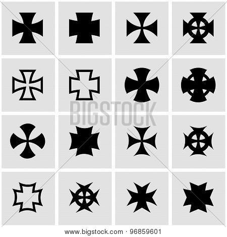 Vector Black Choppers Crosses Icon Set