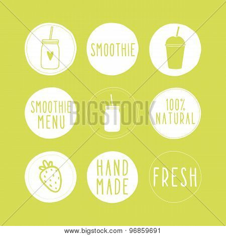 Hand drawn smoothie labels.