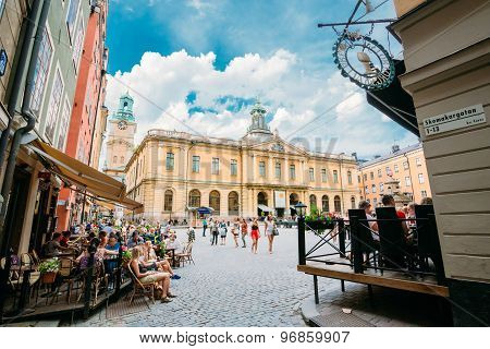 Swedish Academy and Nobel Museum on Stortorget square in Old Cit