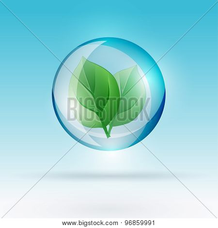 bubble with leaf