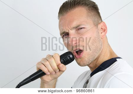 Young man doing a karaoke