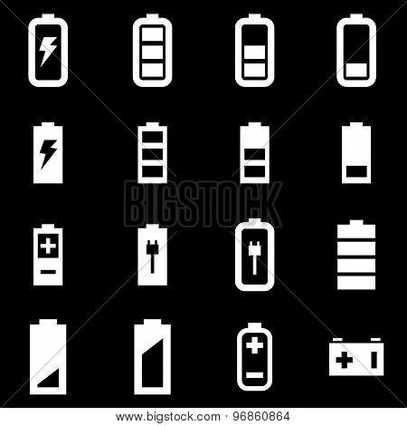 Vector White Battery Icon Set