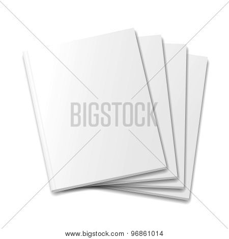 Blank covers mockup magazine template on white background  illustration.