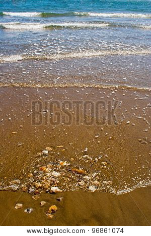 Waves Breaking On A Sandy Beach