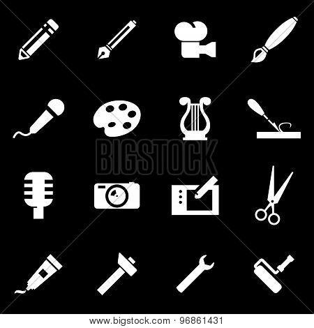 Vector White Art Tool Icon Set