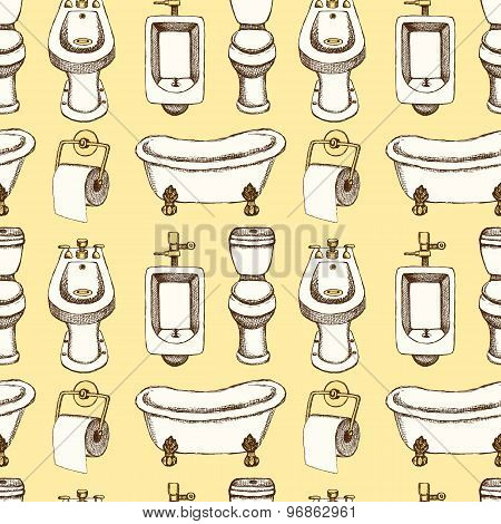 Sketch Toilet And Bathroom Eguipment In Vintage Style