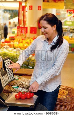 Purchase Of Fruit Vegetables In The Supermarket