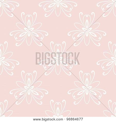 Floral Fine Seamless Vector Pink Pattern