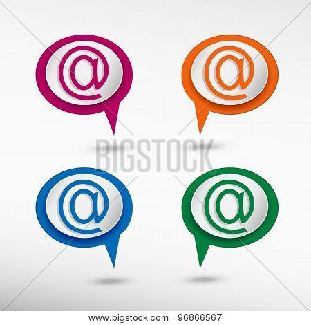 E-mail internet icon on colorful chat speech bubbles