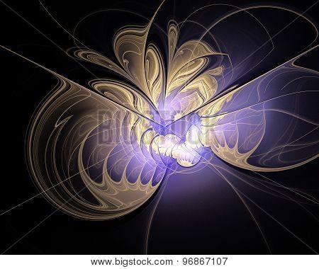 Abstract Fractal Design. Melting Gold And Violet Light.
